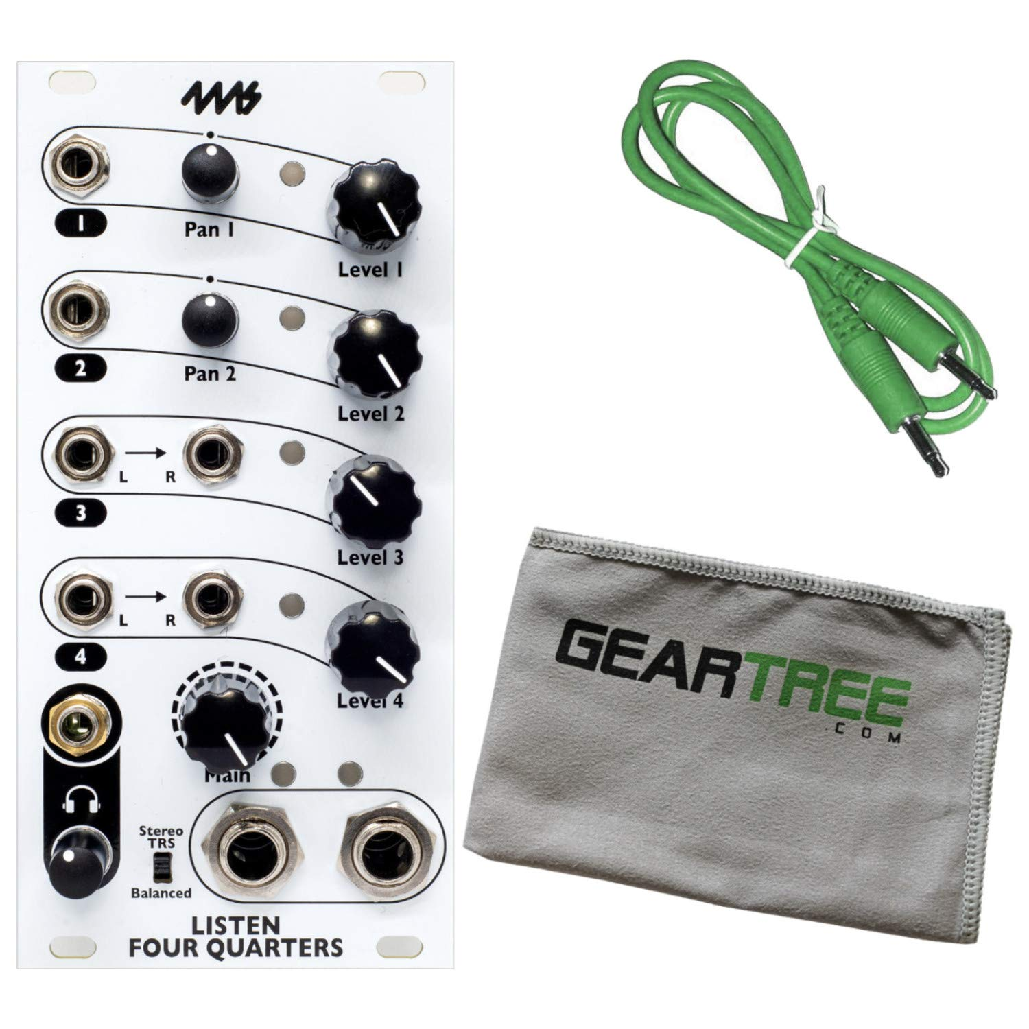 4MS L4Q Listen 4 Quarters Synth Module w/Geartree Cloth and Patch Cable
