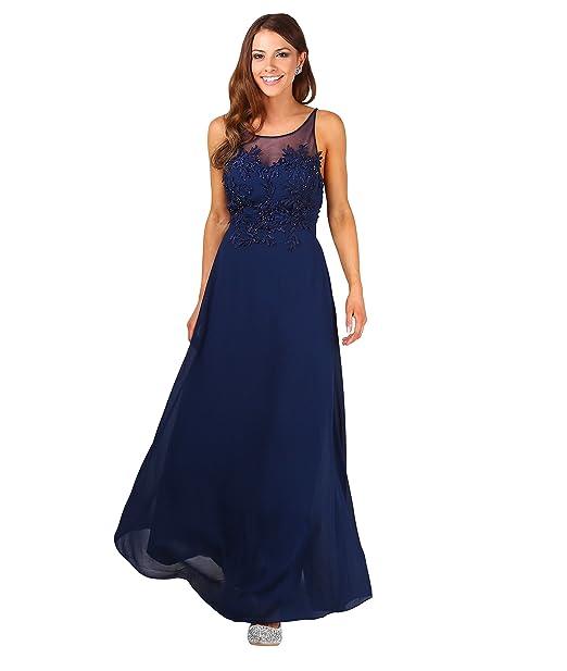 Vestido Noche Gasa Azul[Azul Marino,L]