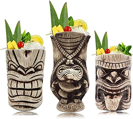 verres /à cocktail exotiques Tiki Bar professionnel Hawaiian Party Barware en c/éramique hawa/ïenne Tiki Mugs Cocktail