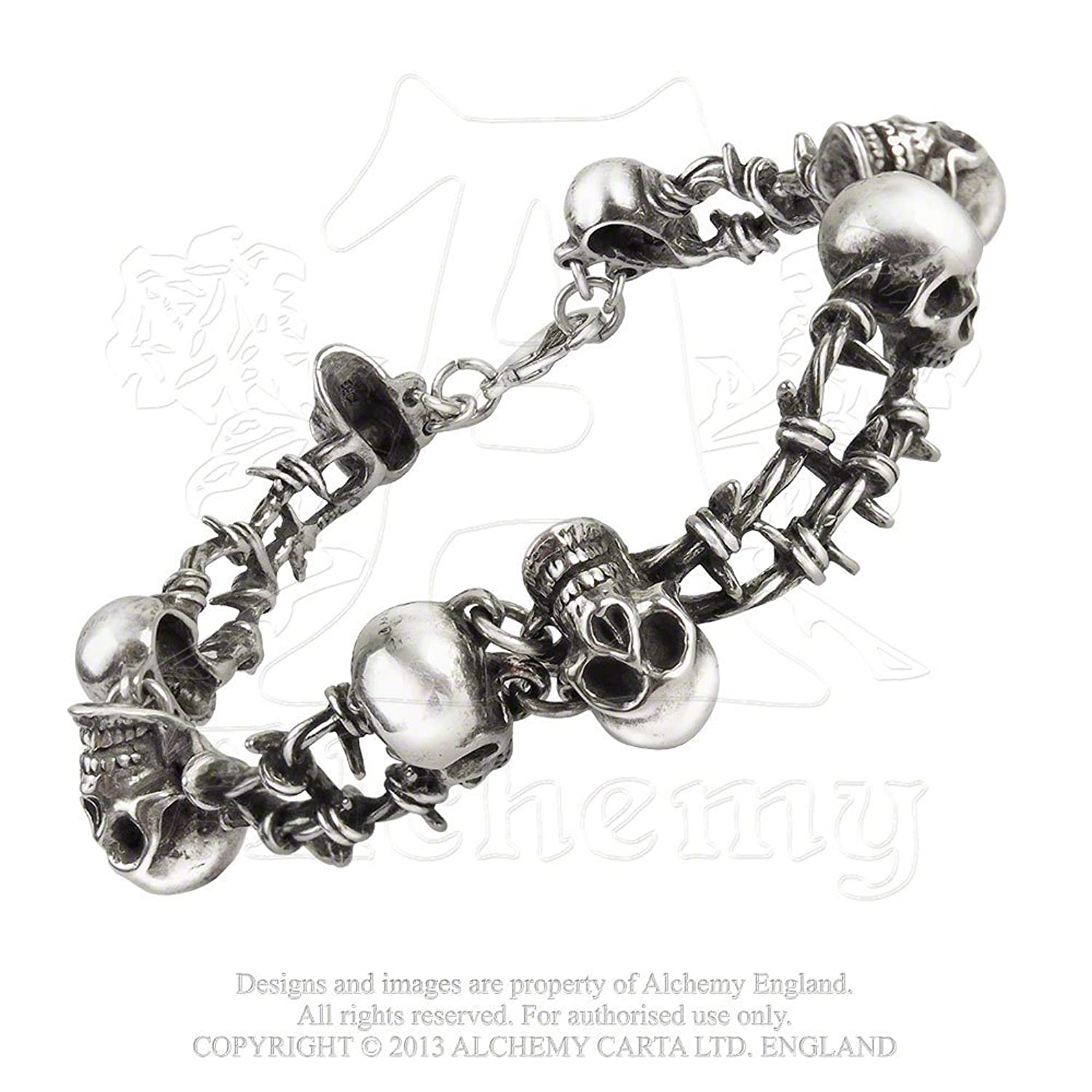 English Pewter Skull Barb Wire Pirate Bracelet
