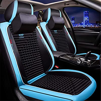Universal 15 PCS Leather Car Seat Cushion Cover Front and Rear Full Set Seat Pad Airbag Compatible Protector Suitable for All-Year Use (Sky-Blue): Home & Kitchen