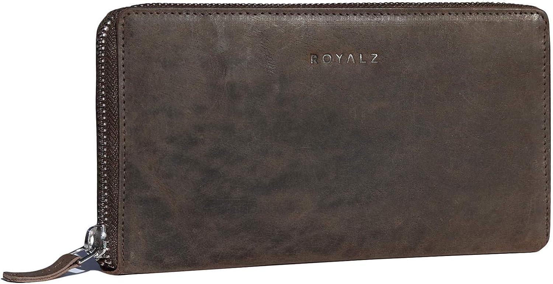 ROYALZ Porte-Monnaie Vintage pour Femmes avec bloqueur RFID Pochette en Cuir de Buffle v/éritable Sac /à Format Paysage Portefeuille Classique Grande Couleur:Montana Marron