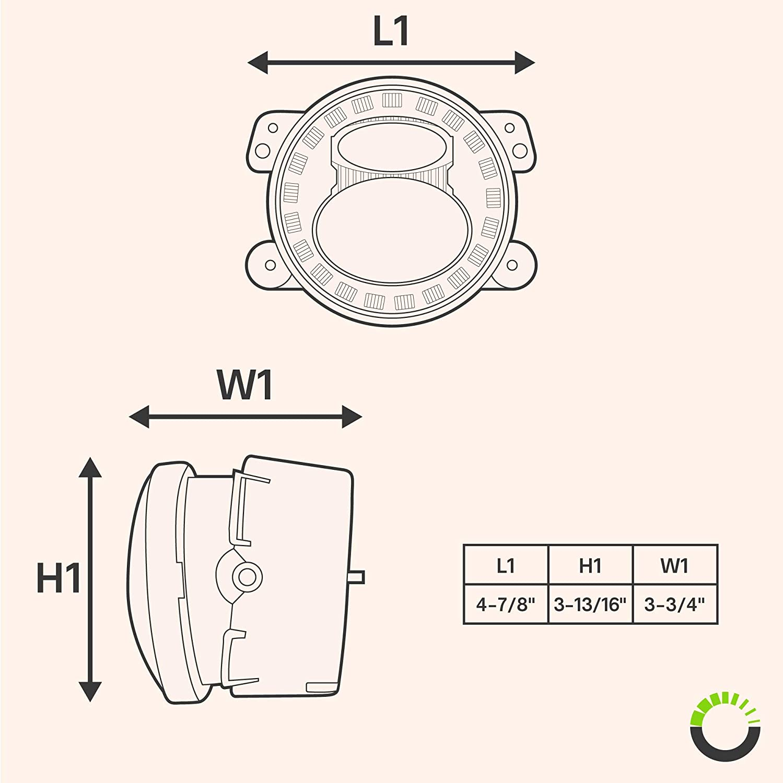 Durable Aluminum Body Advanced Dual Fish-Eye Lens 2pc 4 LED Fog Lights for JEEP Wrangler Driving Light for Jeep Wrangler Cherokee Dodge Chrysler HALO DRL + Turn Signal Black-Finish