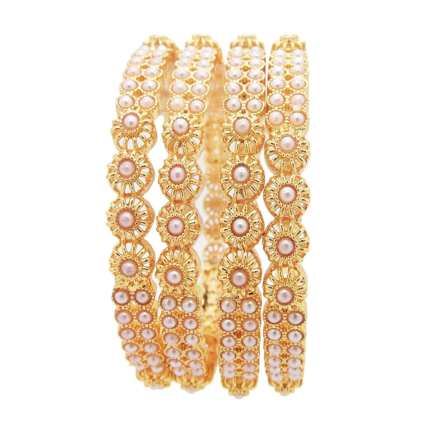 Amazon price history for 9blings Bridal Collection White Pearl Gumbaj Gold Plated 4pc Bangle Womens Girls