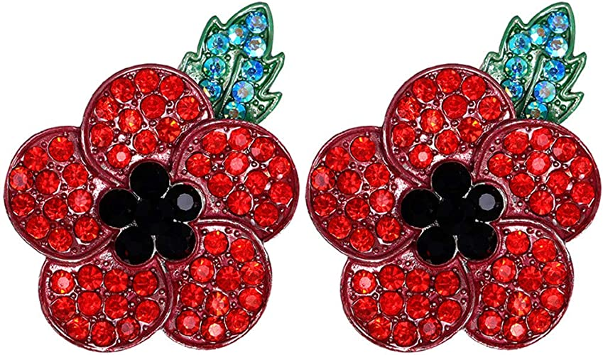 Small Red Poppy Flower Broach Diamante Brooch Vintage Gold Crystal Pin Gift UK