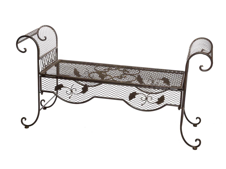 nostalgie gartenbank 134cm metall bank garten antik stil gartenm bel braun g nstig. Black Bedroom Furniture Sets. Home Design Ideas