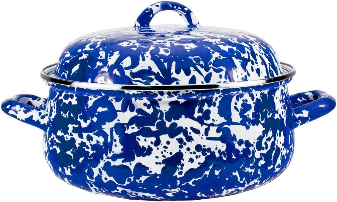 Golden Rabbit Enamelware -Cobalt Blue Swirl Pattern - 4 Quart Dutch Oven