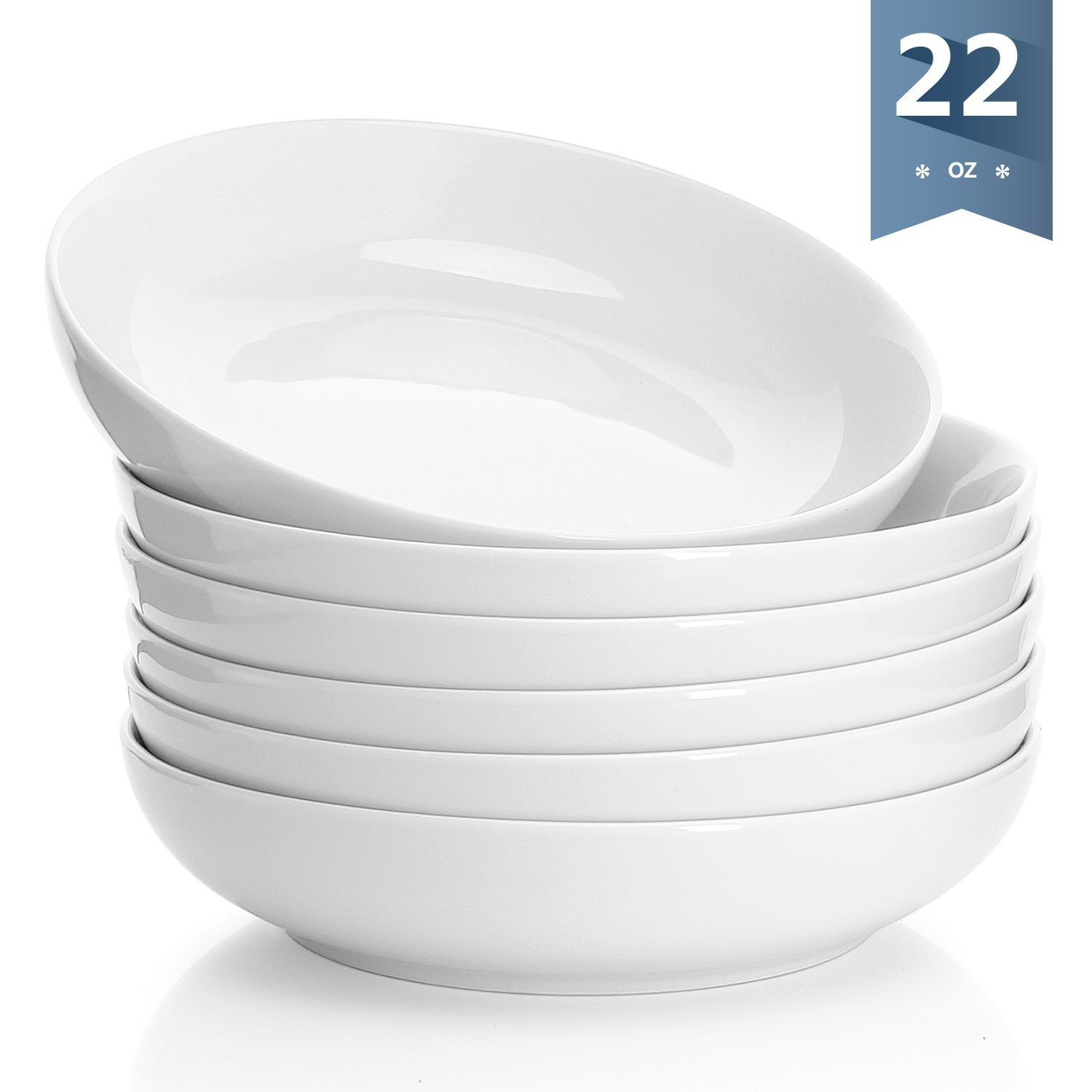 Sweese 1309 Porcelain Salad/Pasta Bowls - 22 Ounce - Set of 6, White