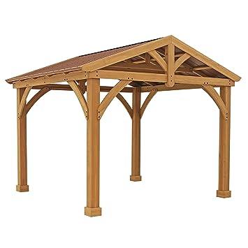 Premium Cedar Wood U0026 Metal 12u0027 X 10.5u0027 Outdoor Pavillion Gazebo