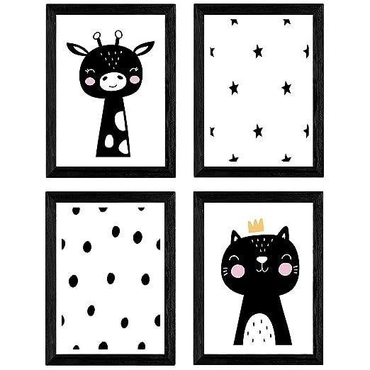 Nacnic Set de 4 láminas Gato y girafa. Posters de Animales. Tamaño ...