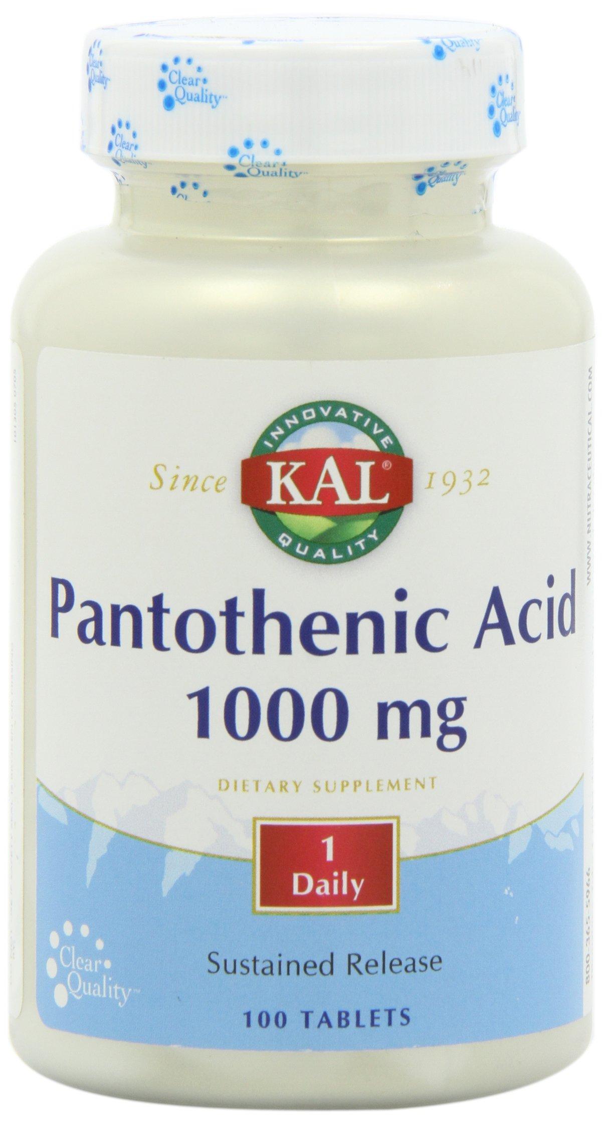 KAL Pantothenic Acid 1000mg Timed Release- 100 Tabs