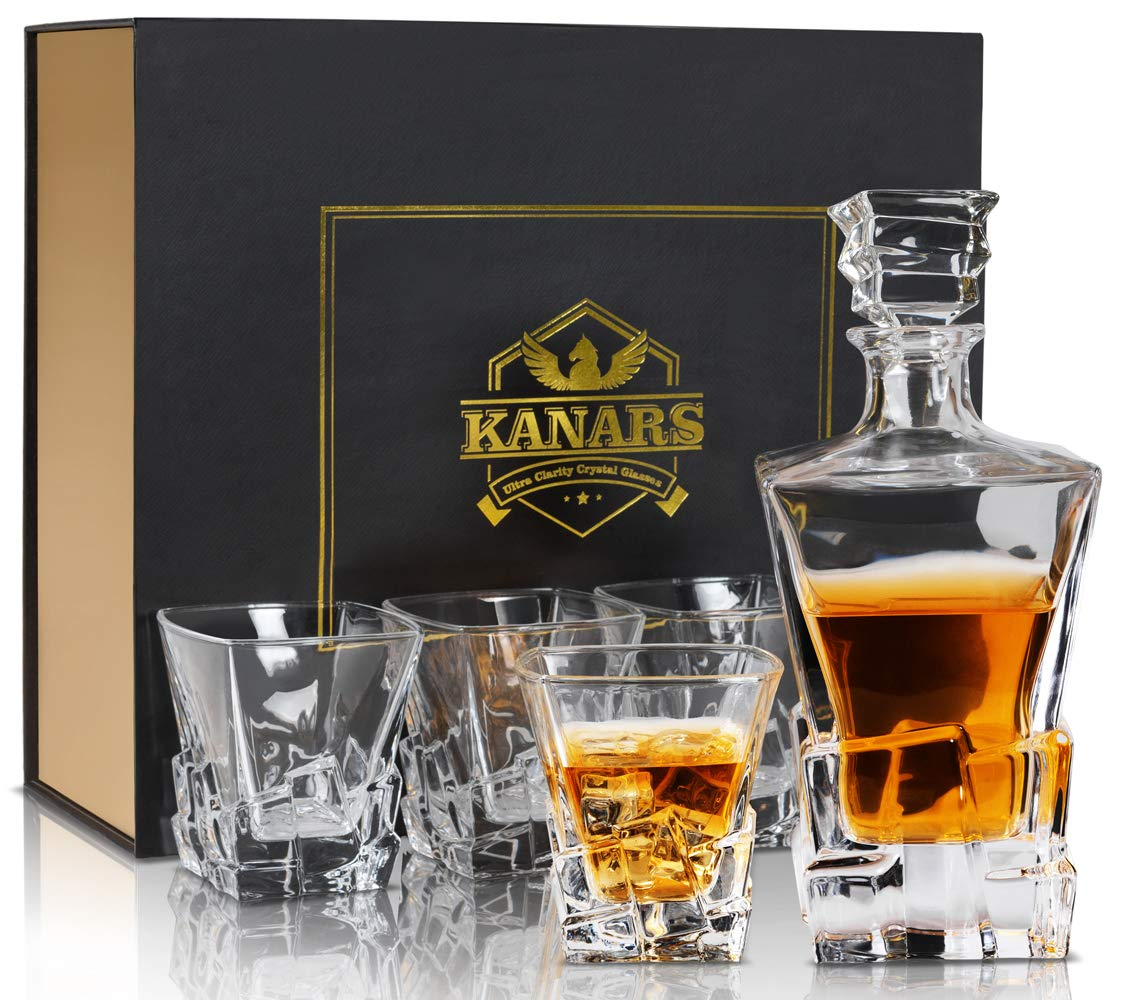 KANARS Iceberg Whiskey Decanter Set With 4 Glasses In Luxury Gift Box - Original Lead Free Crystal Liquor Decanter Set For Scotch or Bourbon, 5-Piece