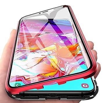 Funda para Samsung Galaxy A70 Adsorcion Magnetica Carcasa 360 Grados Protección Estuche Doble Untre Delgada Háptico Vidrio Templado Marco Aluminio ...