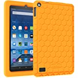 """Fintie Fire 7 2015 Case - [Honey Comb Series] Light Weight [Anti Slip] Shock Proof Silicone Protective Cover [Kids Friendly] for Amazon Fire 7 Tablet (7"""" Display 5th Generation 2015 release), Orange"""