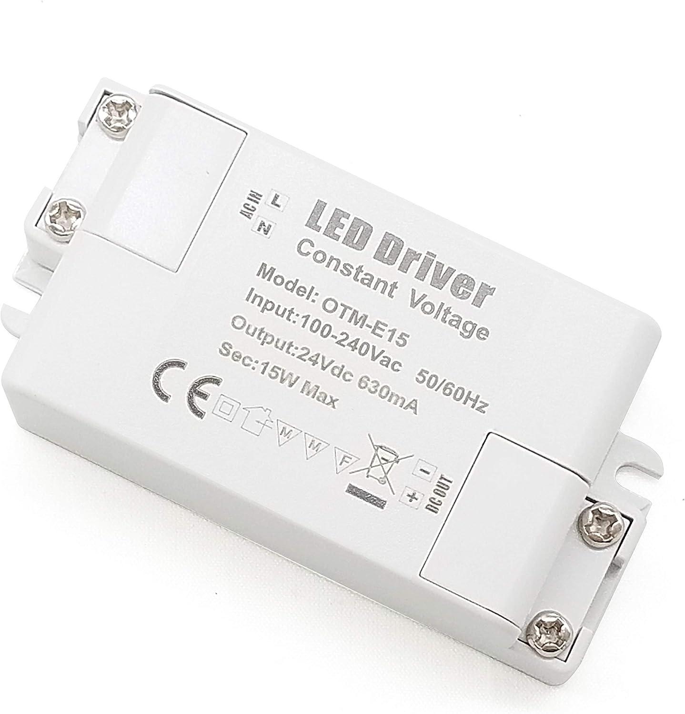 YAYZA! 1-Paquete Transformador de Conductor LED de Bajo Voltaje IP44 24V 0.625A 15W Fuente de Alimentación Conmutada de CA/CC