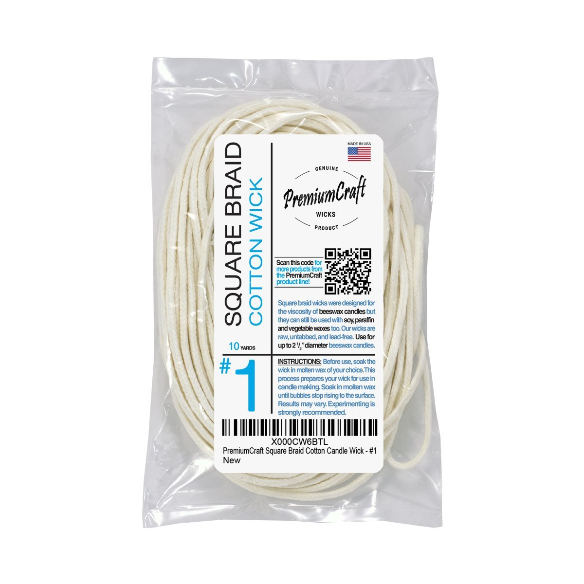 PremiumCraft Square Braid Cotton Candle Wick - #1 SB11