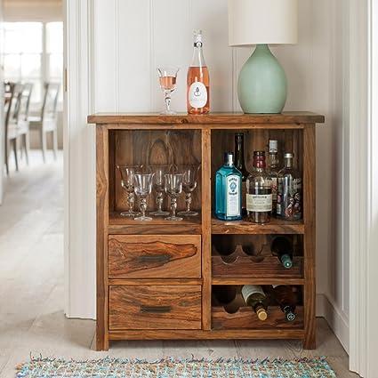 Mamta Decoration Sheesham Wood Stylish Bar Cabinet for Living Room | Wine Storage| Brown Finish