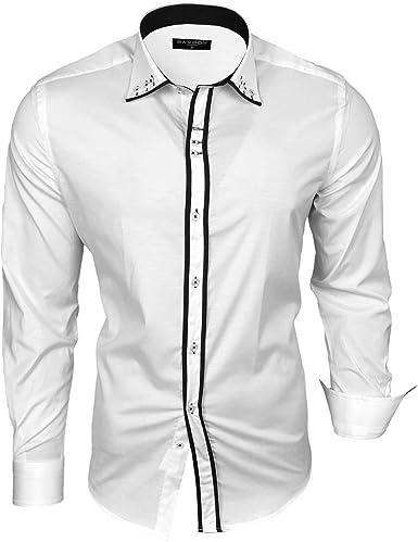 Camisa de manga larga para hombre de Baxboy, para negocios, tiempo libre, bodas, fácil de planchar, ajustada, con cuello de kenta, talla XL, color blanco y negro: Amazon.es: Ropa y accesorios
