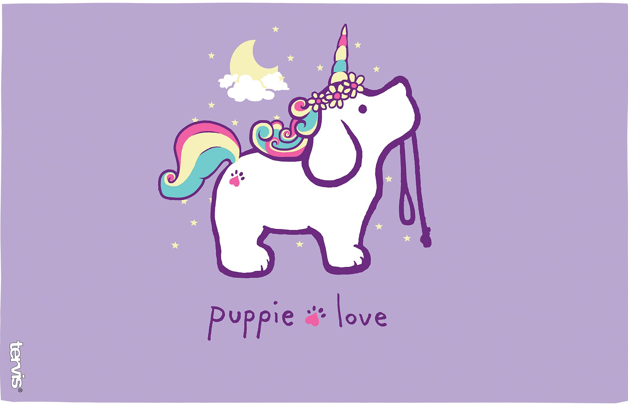 Tervis 1288773 Puppie Love - Unicorn Puppy Tumbler with Wrap and Royal Purple Lid 16oz, Clear by Tervis (Image #2)