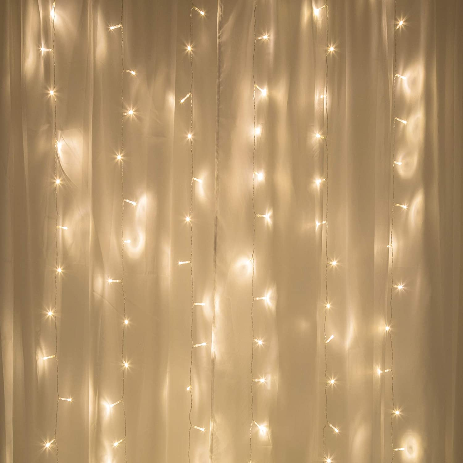 Merkury Innovations Curtain Lights, Cascading Battery-Operated LED Lighted Backdrop Curtain for Bedroom, Wedding, Decoration, or Christmas (Warm White)
