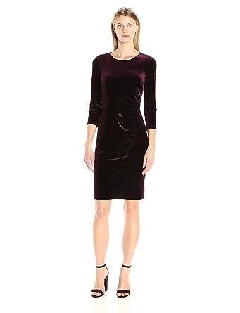 Eliza j lace and velvet sheath dress