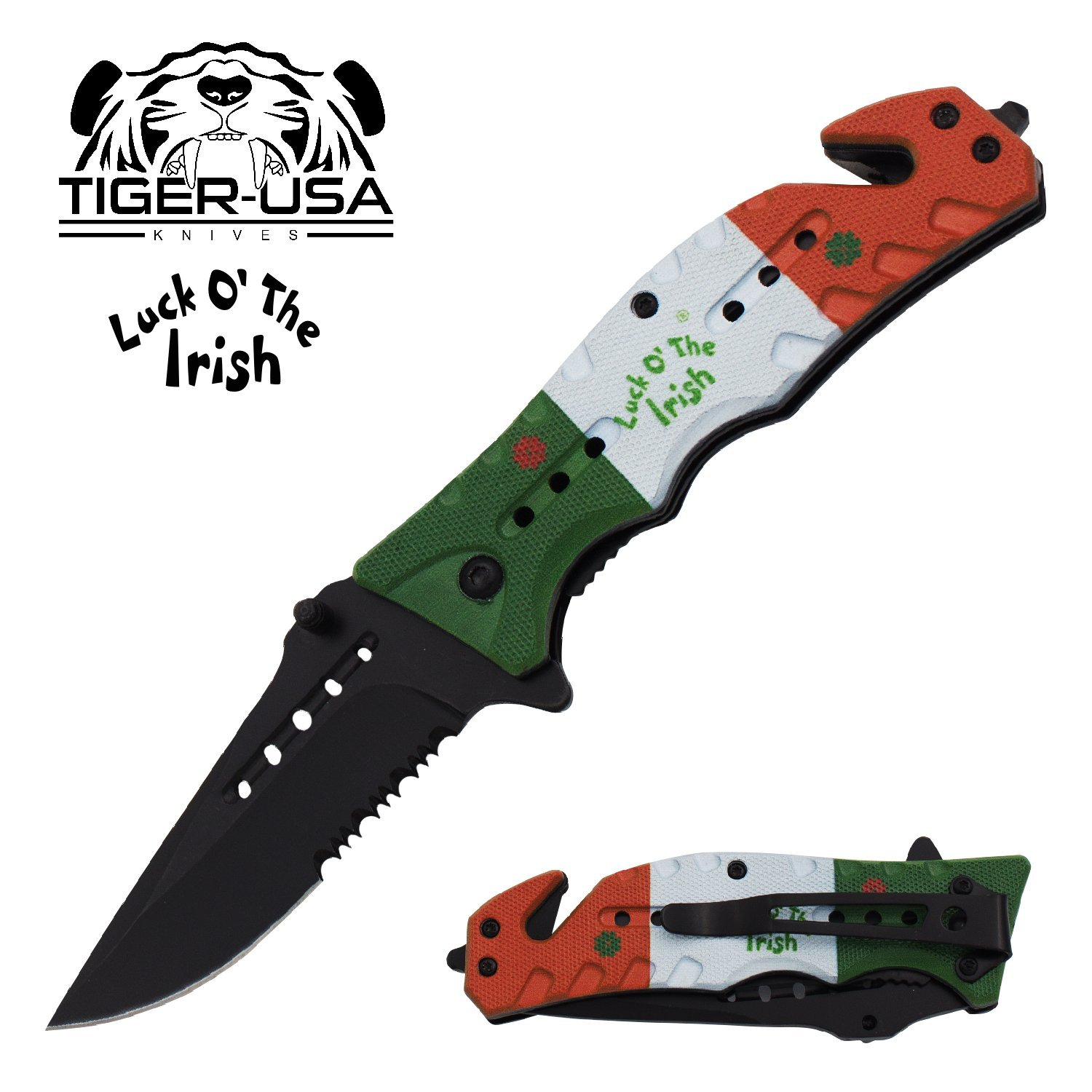 Luck O' The Irish Four Leaf Clover Pocket Knife on the Irish Flag -8 inch Folding Knife Made by Tiger-USA