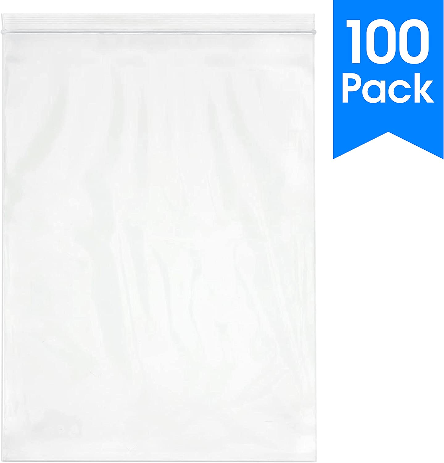 "Spartan Industrial || 100 Count - 13 X 18"" - 2 Mil Clear Plastic Reclosable Zip Poly Bags with Resealable Lock Seal Zipper (More Sizes Available)"