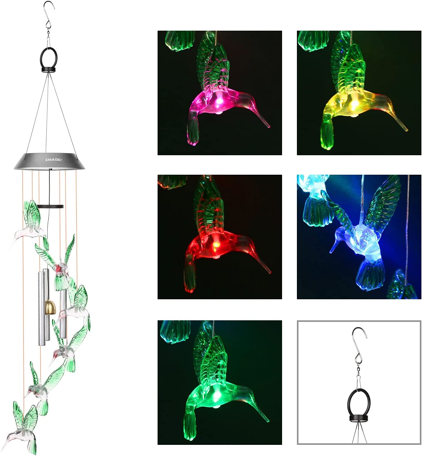 Wind Chimes Solar Hummingbird Wind Chime with Metal Tubes Color Changing Lights Outdoor Solar Lights Hanging Decorative Garden Lights Xmas Gifts for Decor Home Garden Patio Yard Indoor Outdoor