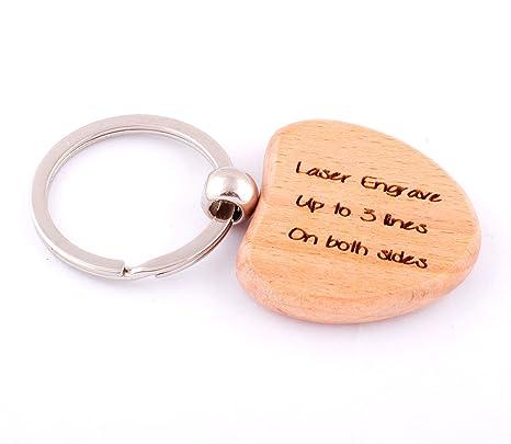 Amazon.com: Personalizado Llavero Engravable de madera forma ...
