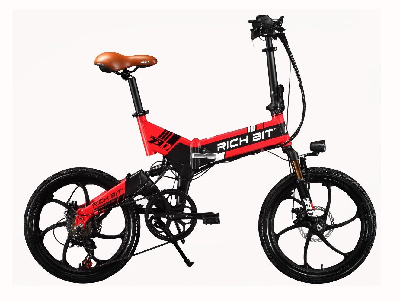 RICH BIT RT730 - Bicicleta eléctrica plegable de ciudad, unisex, 250W*48V*8*Ah, 20pulgadas, doble suspensión, 7marchas, desviador de Shimano, batería de LG, ...