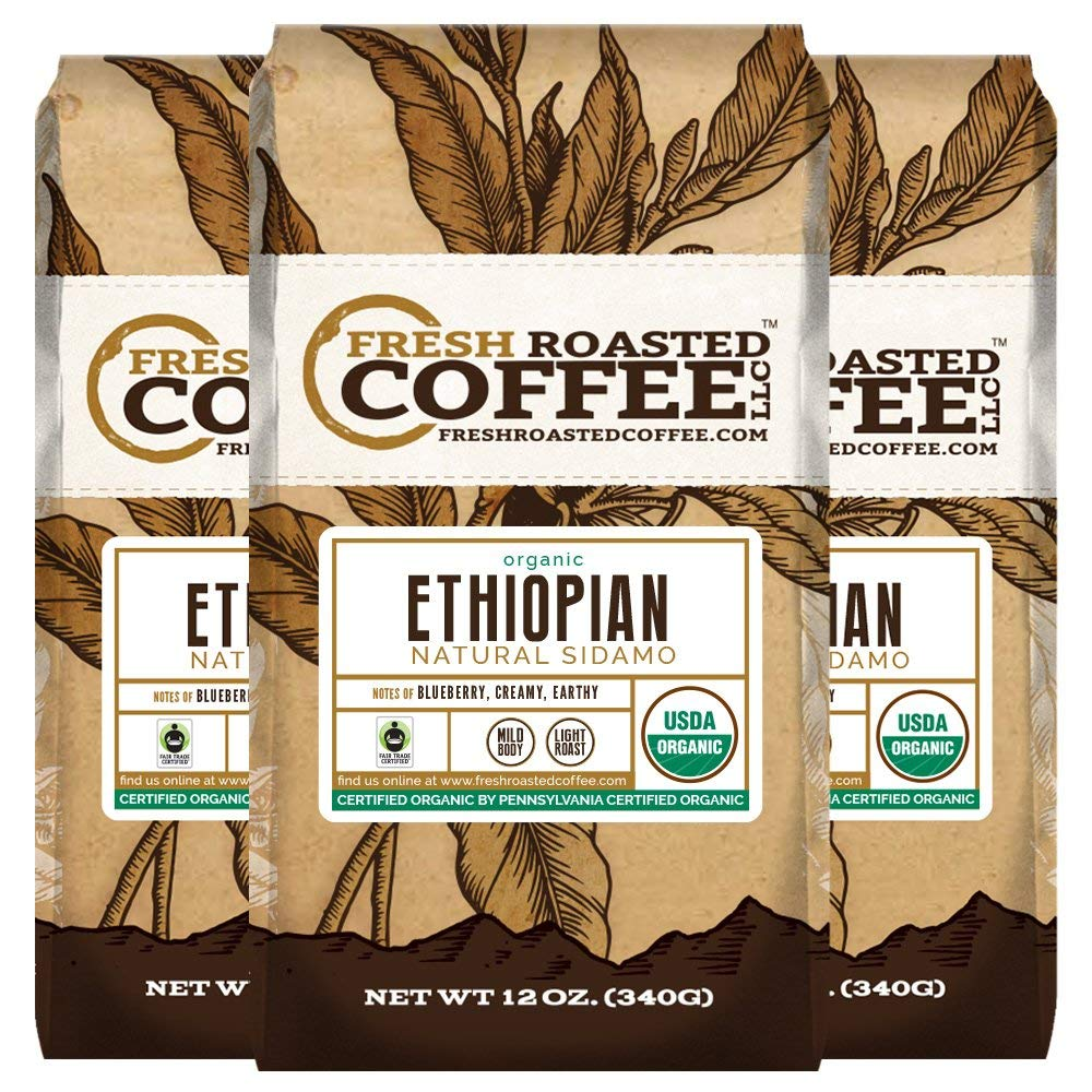 Organic Ethiopian Natural Sidamo Fair Trade Coffee, Fresh Roasted Coffee LLC. (12 oz. 3pk Whole Bean) by FRESH ROASTED COFFEE LLC FRESHROASTEDCOFFEE.COM
