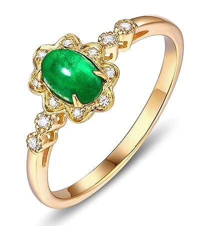 3e4add3a87eb Epinki Oro 18 Quilates Anillos para Mujeres óvalo Flores Anillo Propuesta  Matrimonio Anillo de Diamante Oro