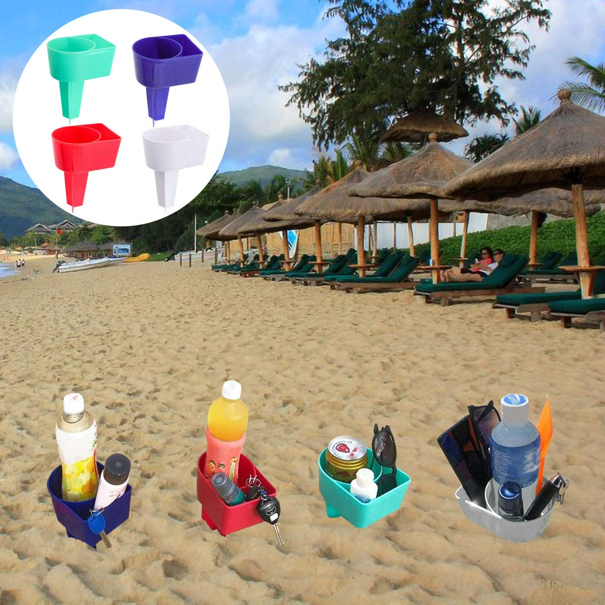 GKanMore Beach Cup Holder 4 Pack Multifunction Plastic Beach Sand Cup Holders for Beverage Phone Drinks Keys Sunglasses, 4 Colors
