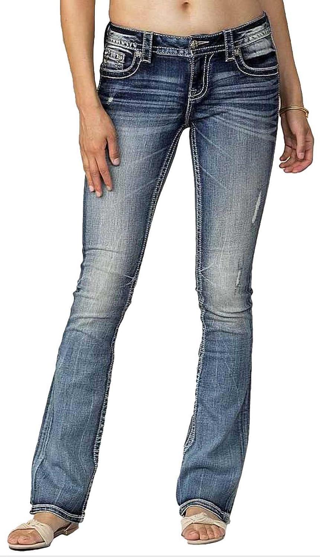 Miss Me Women's Paisley Print Back Yoke Boot Cut Denim Jean