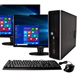 "HP Elite Desktop Computer, Intel Core i5 3.2 GHz, 8 GB RAM, 500 GB HDD, Keyboard & Mouse, Wi-Fi, Dual 19"" LCD Monitors (Brands Vary), DVD-ROM, Windows 10 (Renewed)"