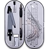Math Geometry Kit Set 8 Pieces Student Supplies with Shatterproof Storage Box,Includes Rulers,Protractor,Compass,Pencil lead refills,Pencil,Eraser.for Students and Engineering Drawings