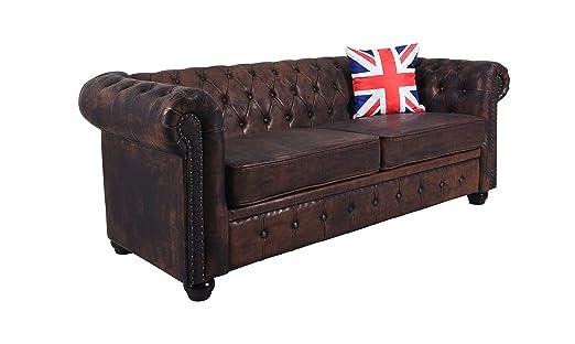 Chesterfield - Sofá XXL Couch 200 cm Eco Piel Acolchado sofá ...