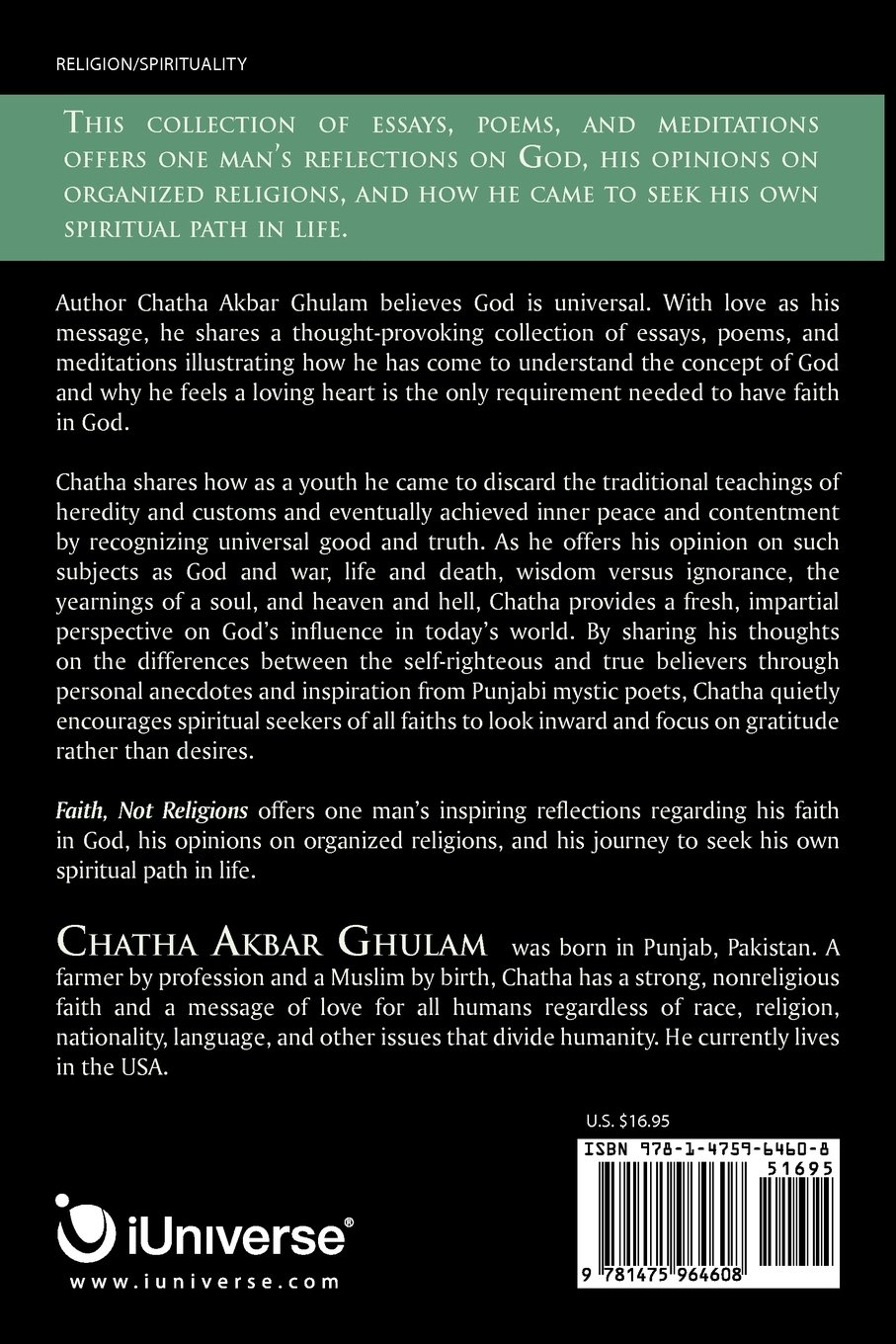 faith not religions a collection of essays chatha akbar ghulam faith not religions a collection of essays chatha akbar ghulam 9781475964608 com books
