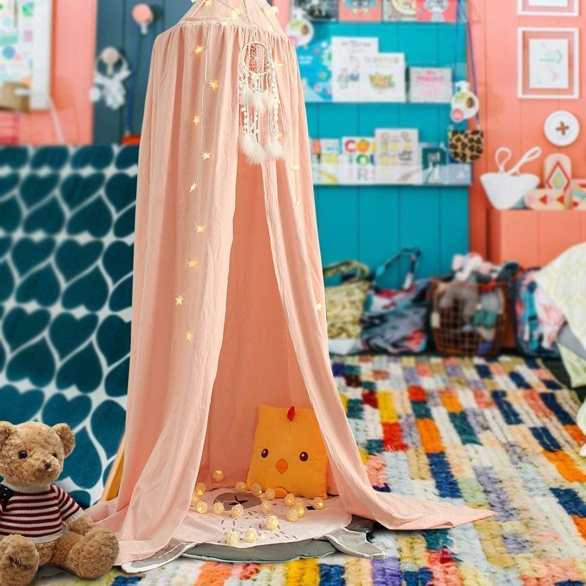 Samyoung Kids Bed Canopy Mosquito Net Witch Hat Style Round Dome Bed Canopy Screen Mantle Bed Curtain Tent Cotton Cloth Hanging Mosquito Net for Cotton Canvas Pink With Dreamcatcher