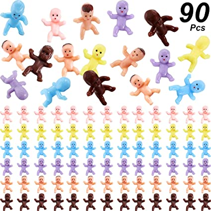 Dark Brown, Latin, Pink, Blue, 200 200 Pieces 1 inch Mini Plastic Babies Mixture Race Babies Ice Cube Game Baby Bathing and Crafting Birthday Baby Shower Party Favors