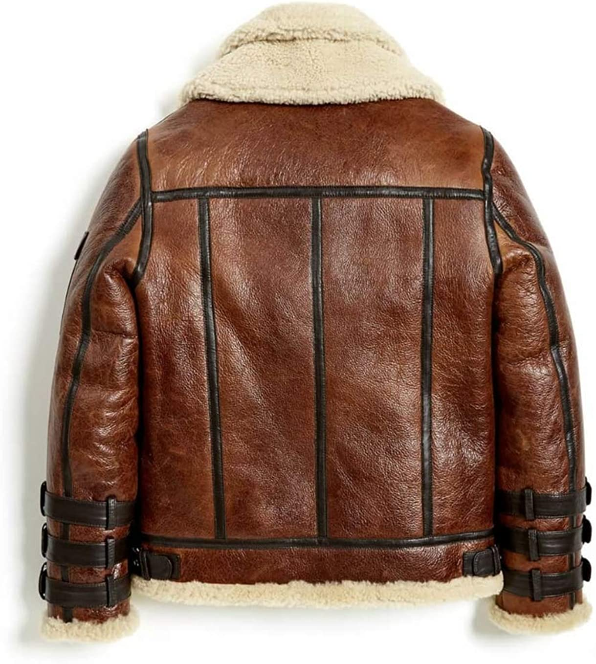 Mens B3 Aviator Double Collar Real Shearling Bomber Motorcyle Leather Jacket