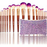 Diolan Makeup Brushes Set 17pc Kit High End Real Hard Wood Handle with Purple Shining Bag Holder Professional Cosmetics Brushes Angled Contour Brush Lip EyeShadow Foundation Powder Fan Brushes