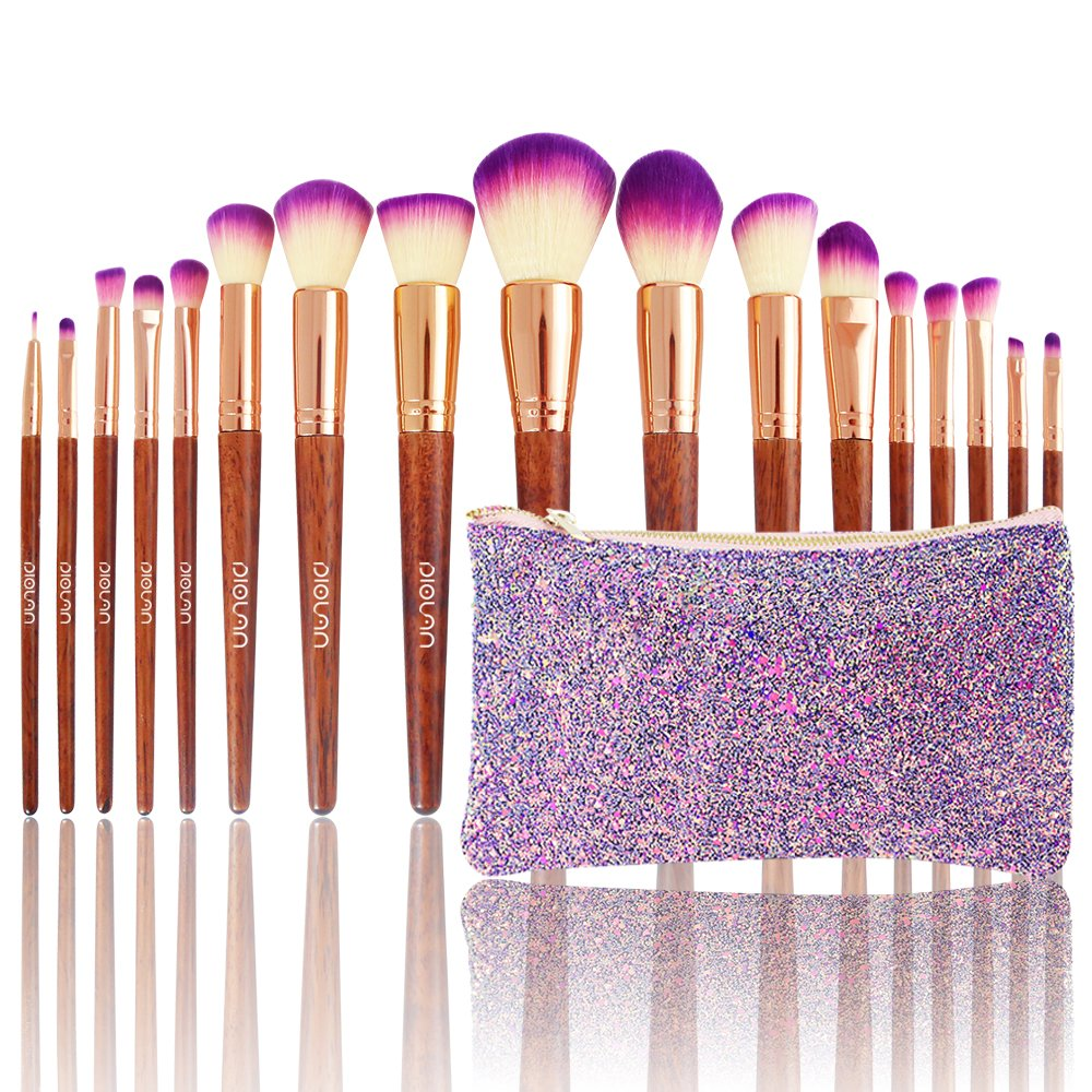 Diolan Makeup Brush Set 17Pcs Professional Beauty Brushes for Foundation Powder Concealer Lip Eye Blush Face Cosmetic Kit Soft Synthetic Fiber and Vegan Bristles Wooden Handle with Glittering Travel Bag Purple LEAN