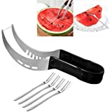 OUNONA Watermelon Slicer Cutter Fruit Cutting Tool Set Knife Corer Server with 4 Stainless Steel Fruit Forks