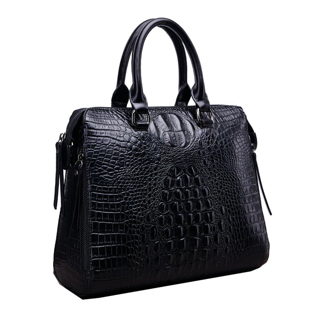 Black Shengdilu Women's Leather Purse Handbag Crocodile Satchel Tote Shoulder Bag Cowhide Vintage Work Crossbody