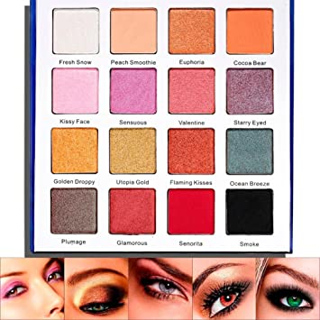 Pausseo 16 Colors Starry Shimmer Glitter Eye Shadow Palette Professional Eyeshadow Palette Powder Matte Cosmetic Waterproof