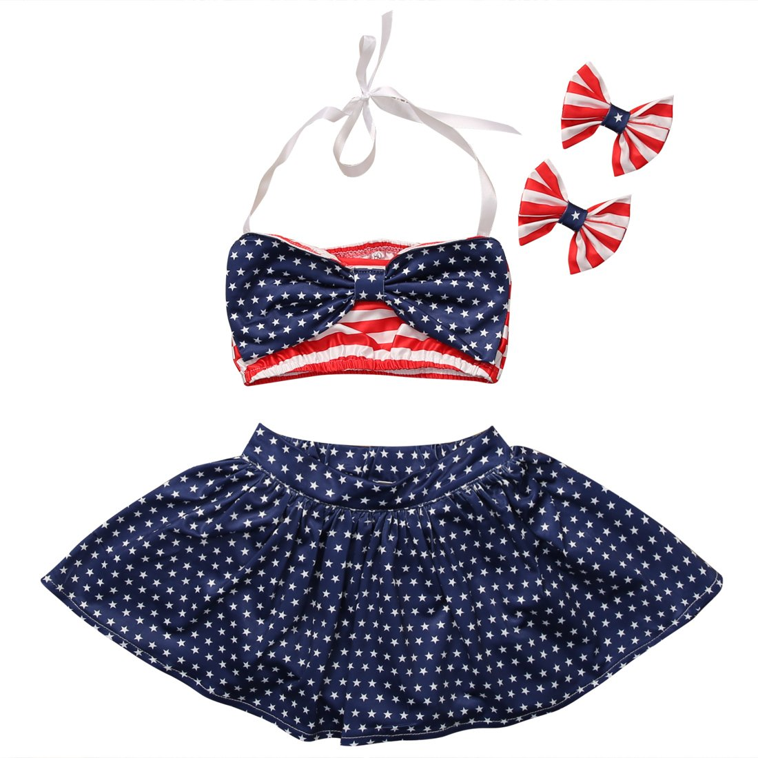 Little Girl Stripe+ Little Stars Halter Bowknot Headband Beachwear Bikini Set