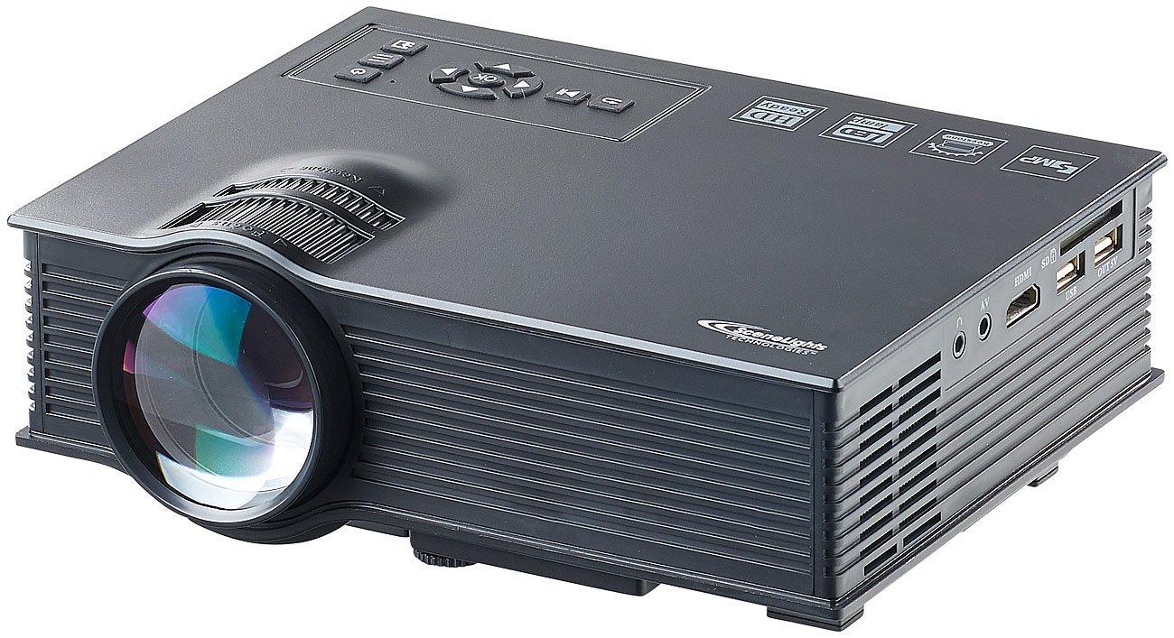 SceneLights Kompakt LED Beamer: LCD-LED-Beamer LB-8300.wl, SVGA, Miracast, DLNA & AirPlay, 800 x 480 (Beamer WLAN)