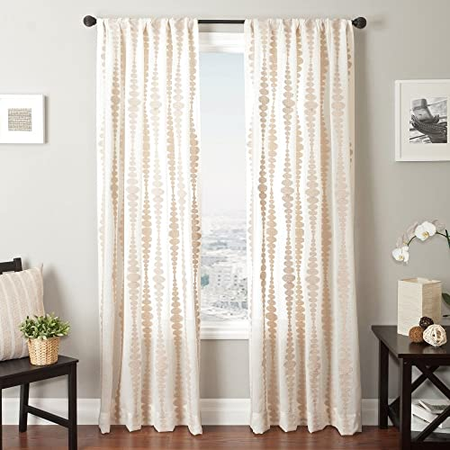Softline Home Fashions Cozumel Series Boucle Window Curtain Drape Panel Treatment, Natural, 55 x 84