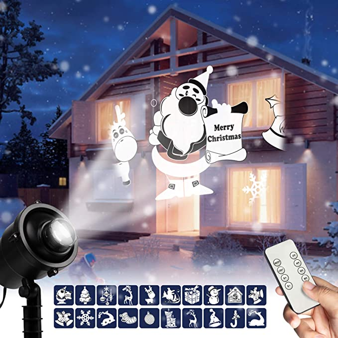 3-5 DAY!!! Snow Fall Christmas Lights Projector LED Laser Landscape Xmas Decor
